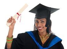 Obtention du diplôme indienne d'étudiant Image stock