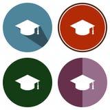 Obtention du diplôme plate d'icônes Images libres de droits