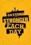 Obtention plus forte chaque jour Citation de motivation de gymnase de séance d'entraînement et de forme physique Affiche créative illustration libre de droits