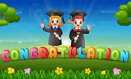 Obtentions du diplôme des enfants dans le matin illustration stock