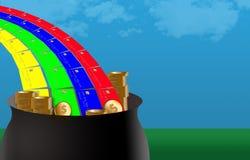 Obter o dinheiro para trás em compras de cartão de crédito é como encontrar o potenciômetro de ouro na extremidade de um arco-íri ilustração stock