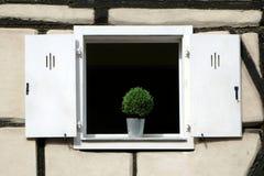 Obturador blanco de la ventana fotografía de archivo