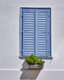 Obturadores azules de la ventana del vintage imagen de archivo libre de regalías