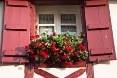Obturadores rojos hermosos en la ventana basque tradicional típica con las flores rojas, mezclilla de varios colores port, Franci foto de archivo libre de regalías