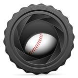 Obturateur de caméra avec la boule de base-ball illustration de vecteur