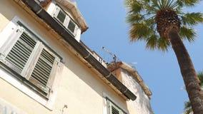 Obturateurs blancs d'hublot Les maisons de façade dans Monténégro banque de vidéos