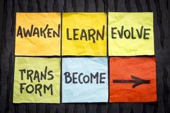 Obudzi, uczy się, rozwija, przekształcać i zostać pojęciem, zdjęcie stock