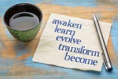 Obudzi, uczy się, rozwija, przekształcać, zostać, zdjęcia stock