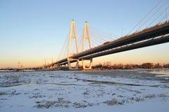 Obukhovsky bridge across Neva river. At winter evening in Saint-Petersburg, Russia royalty free stock photography