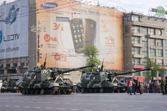 Obus automotores de Msta-S na parada de Victory Day o 9 de maio Imagens de Stock Royalty Free