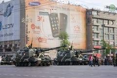 Obusier autopropulsé de Msta-S sur le défilé de Victory Day le 9 mai Images libres de droits