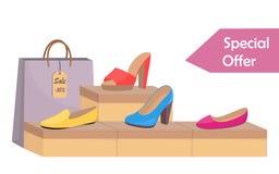 Obuwiani pudełka z kobiety s obuwiem Eleganccy nowożytni kobiety s czerwieni buty na pudełku, kolorowej papierowej torbie i metce ilustracji