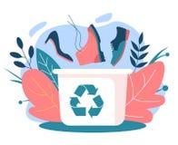 Obuwiany przetwarzać Kubeł na śmieci i starzy buty ilustracja wektor