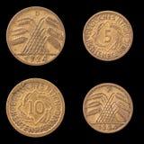 Obverse και αντιστροφή δύο γερμανικών νομισμάτων Στοκ εικόνες με δικαίωμα ελεύθερης χρήσης