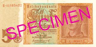 5 obverse банкноты 1942 reichsmark немца стоковые фотографии rf
