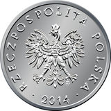 Obverse Polish Money one zloty coin Royalty Free Stock Photo