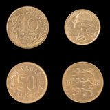 Obverse, Reverse Coin of France and Estonia Royalty Free Stock Photo