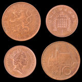 Obverse and Reverse Coin of Great Britain, Czech Royalty Free Stock Photos
