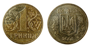Obverse and reverse coin Ukrainian hryvnia Stock Photography