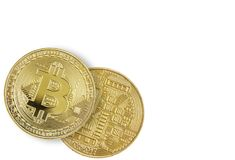 Two golden bitcoins on white background Royalty Free Stock Photo