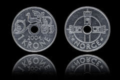 Obverse and reverse of one Norwegian krone coin Stock Images
