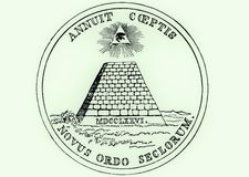 Obverse (reverse) side of National Seal of the United States, a pyramid with all seeing eye of providence - Novus Ordo Seclorum Stock Images