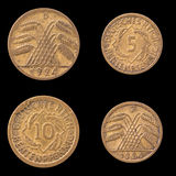 Obverse and Reverse of Two German Coins Royalty Free Stock Images