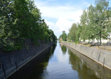 Obvodnii canal in Kronshtadt. Landscape bypass channel in Kronstadt Stock Image