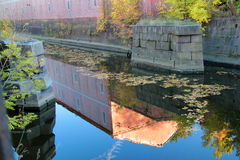 Obvodny channel in Kronstadt at Kotlin island. Russia Royalty Free Stock Photography