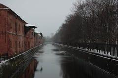 Obvodny-Kanal in Kronstadt Russland Stockbild
