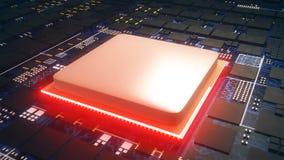 Obwód deska, środkowego komputeru procesorów jednostki centralnej pojęcie, zakończenie w górę płyta główna cyfrowego układu scalo royalty ilustracja