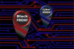 Obwód deska, czarny Piątek i cyber Poniedziałku sztandar, plakatowa układu projekta szablonu wektoru ilustracja royalty ilustracja
