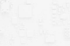 Obwód deski tła abstrakcjonistyczny biel z smartphone składnikami Fotografia Stock