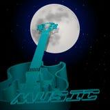 Obwód jazzowa gitara na tle księżyc Obrazy Royalty Free