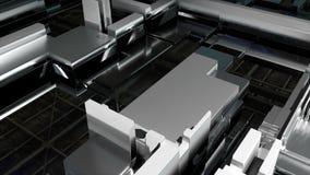 Obwód z szklanym zbliżeniem, konwejer linia, 3d renderingu tło, komputer wytwarzał zawartość royalty ilustracja