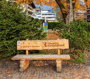Obwalden Cantonal Bank bench Stock Photo