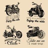 Obyczajowi siekacza i motocyklu logowie ustawiający Roczników inspiracyjni plakaty, koszulka druków kolekcja dla MC, garaż etc, royalty ilustracja