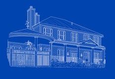 Obyczajowy bielu domu rysunek na błękicie Obrazy Stock