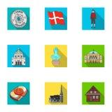 Obywatel, symbol, korona i inna sieci ikona w mieszkanie stylu, Dani, turystyka, restauracyjne ikony w ustalonej kolekci Zdjęcie Stock