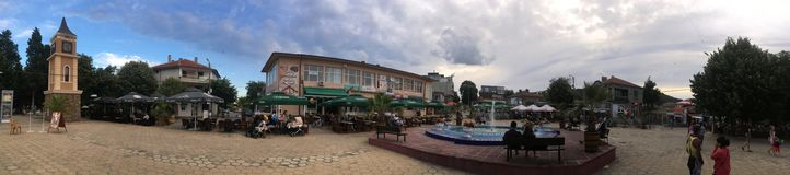 Obzor Central square panorama, Bulgaria Royalty Free Stock Images