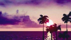 Océan avec des palmiers au coucher du soleil banque de vidéos