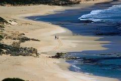 Océan bleu avec deux amis en plage blanche de sable Image libre de droits