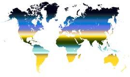 Océan de coucher du soleil de gradient de carte du monde Photos libres de droits