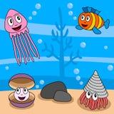 océan de durée de 4 dessins animés illustration de vecteur