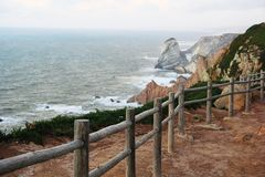 Océan, paysage, rambarde, Portugal photos stock