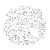Océan réglé avec les animaux de mer mignons Sous le modèle rond de mer Dessin linéaire Photos libres de droits