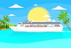 Océan tropical d'été d'île de revêtement de bateau de croisière illustration libre de droits