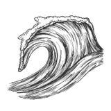 Océan tropical de précipitation Marine Wave Storm Vector illustration stock