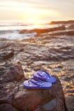 Océano australiano de la playa de la salida del sol de las correas de la bandera Fotos de archivo libres de regalías