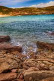 océano de la playa del paisaje en Asturias, España Imágenes de archivo libres de regalías
